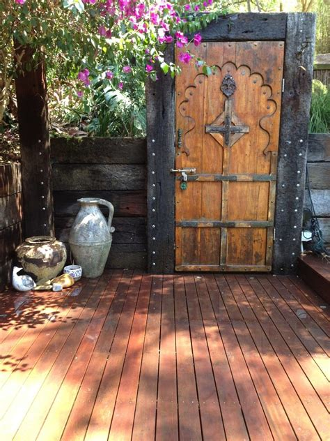 Shed Style Roof rustic garden doors deck shabby chic style with railway