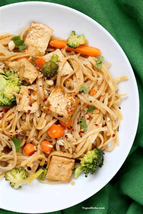 recipes for rice noodles vegetarian tofu and brown rice noodles in hoisin sauce vegan richa