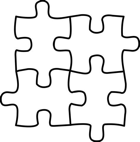 four puzzle pieces for coloring free clip art