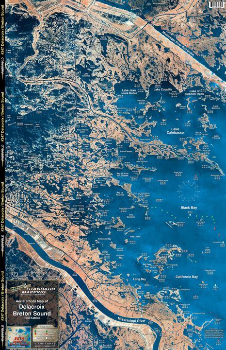 louisiana fishing map delacroix breton sound aerial chart la47 keith map service inc