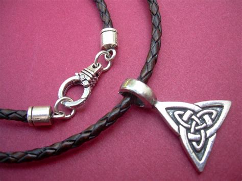 leather necklace celtic triangle mens necklace mens