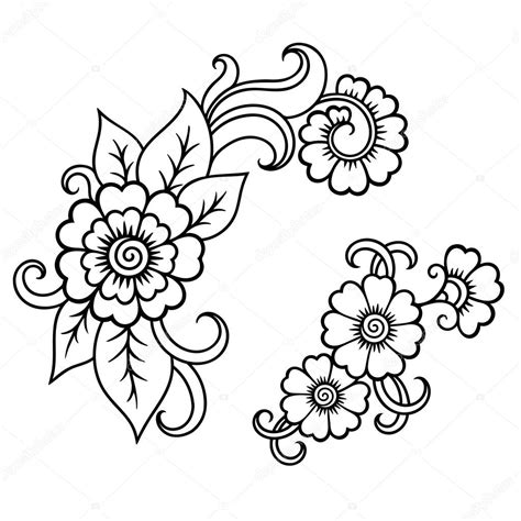 henna tattoo vorlagen blumen henna blume vorlage mehndi stockvektor 103675412