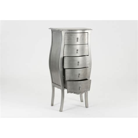 Commode Murano by Chiffonnier Murano En Bois Argent 233 5 Tiroirs