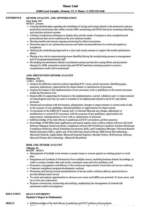 senior analyst aml resume sles velvet