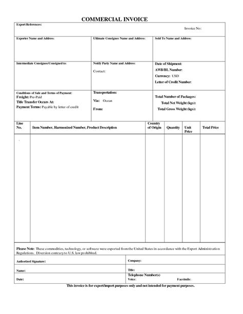 commercial export invoice sample business form