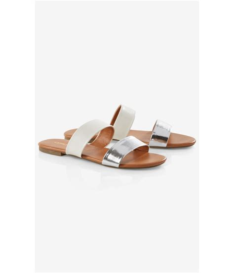 express sandals express two slide sandals in white lyst