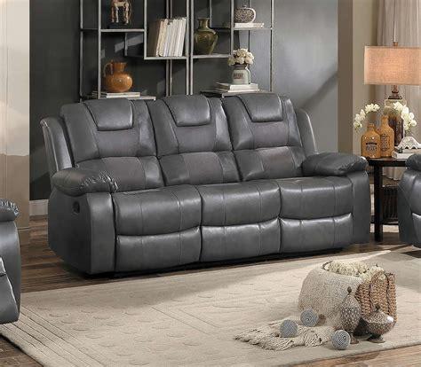 grey leather reclining sofa set homelegance taye reclining sofa set gray leather gel