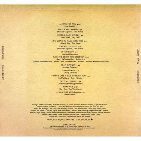 a song for you a song for you carpenters mp3 buy tracklist