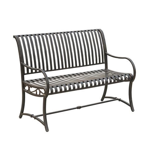 black metal bench slate metal bench l pb136pst the home depot