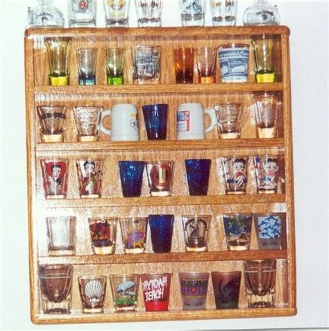 barware store oak 35 shot glass display plexi front barware bar ebay