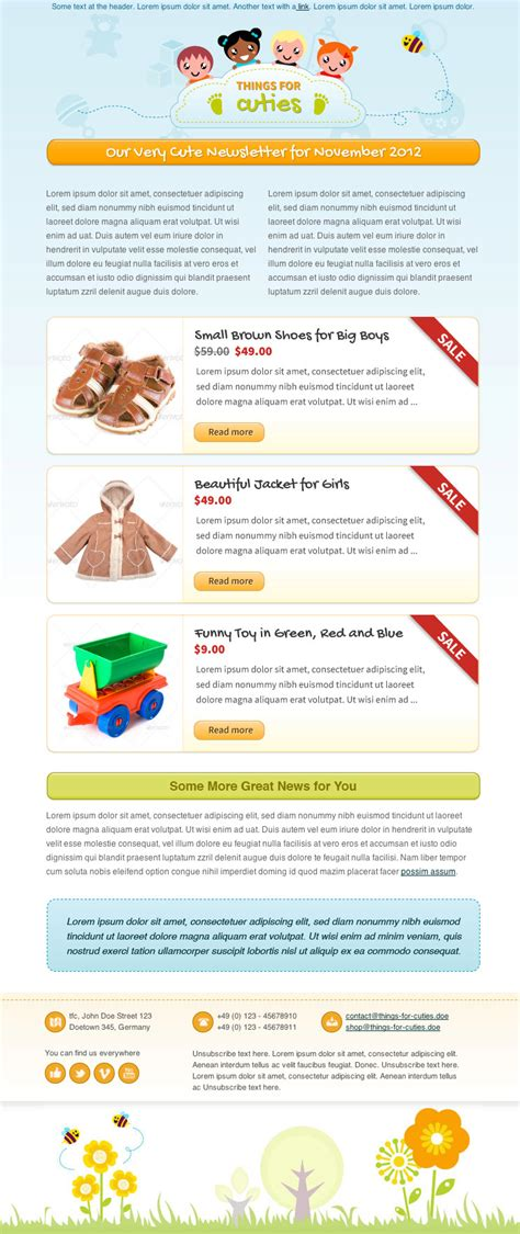 themeforest newsletter things for cuties baby kids newsletter template by