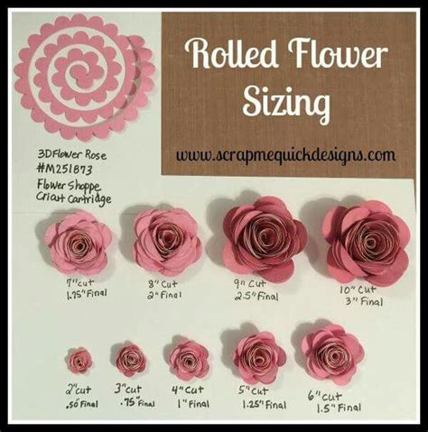 rolled paper roses template rolled paper flower sizing chart cricut paper flowers