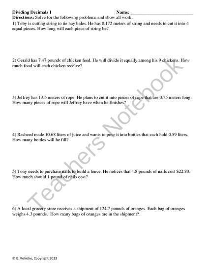 Dividing Fractions Word Problems Worksheet by Dividing Decimals Word Problems 2 Worksheets From