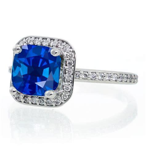1 5 carat princess cut sapphire classic halo engagement