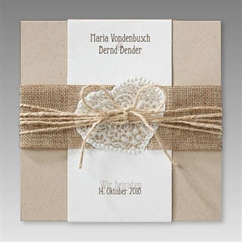 Hochzeitseinladung Jute Spitze by Trendige Hochzeitseinladung Aus Kraftkarton Mit Jute Banderole