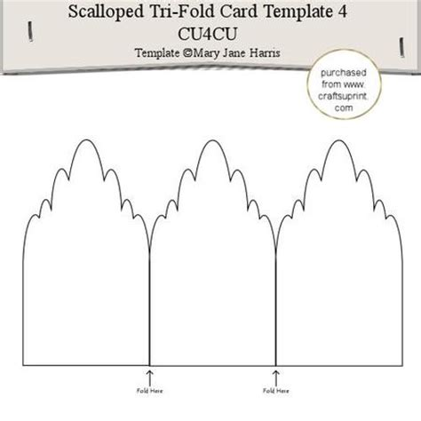trifold single card template scalloped tri fold card template 4 cu4cu cup291573 99