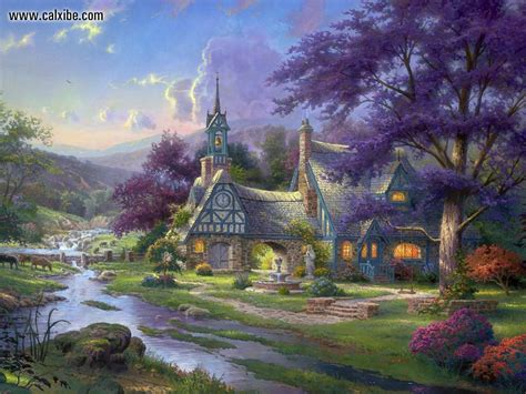 kinkade cottage drawing painting kinkade clocktower cottage