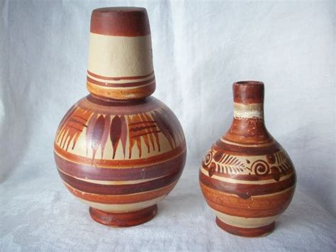 Handmade Mexican Pottery - vintage handmade mexican clay pottery water jug and cup