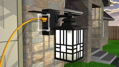 outdoor light fixture with gfci outlet sunbeam led wall lantern with gfci and sensor youtube