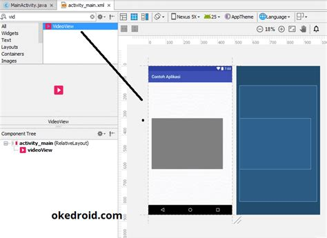 layout design in android xml belajar menilkan videoview pada aplikasi android studio