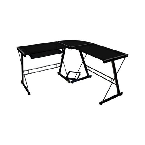 Corner L Shaped Glass Top Computer Desk In Black D51b29 L Shaped Glass Top Desk