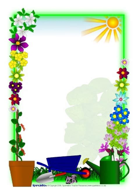 Plant Growing A4 Page Borders (SB2262) - SparkleBox Microsoft Garden Clipart