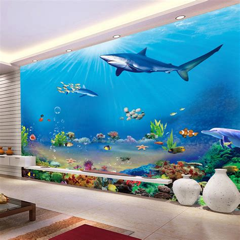 underwater wall mural custom 3d wall murals wallpaper underwater world wall decorations living room bedroom tv