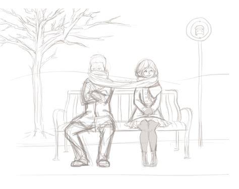 how to draw people sitting on a bench winter bix707
