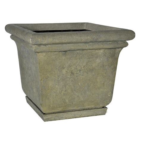 Granite Planter by Mpg 24 In Square Aged Granite Cast Planter With
