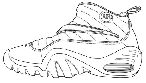 Coloring Pages Basketball Shoes | basketball shoe coloring pages download and print for free