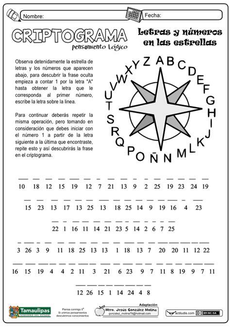 Criptograma. Letras y números en las extrellas - Actiludis