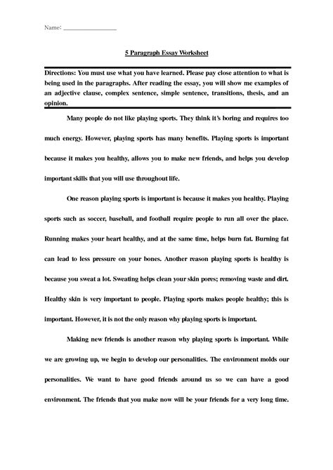 5 Paragraph Essay by 11 Best Images Of Introduction Paragraph Worksheet Essay Writing Worksheets Five Paragraph
