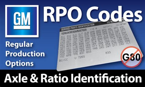 gm rpo codes axle ratio identification west coast differentials