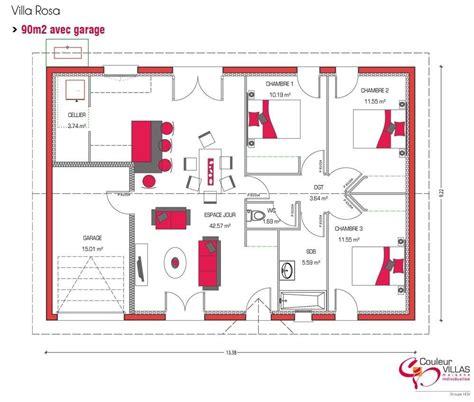 Plan Maison 90m2 Plain Pied 4345 by Plan Maison Plein Pied 90m2 1 Plan Maison