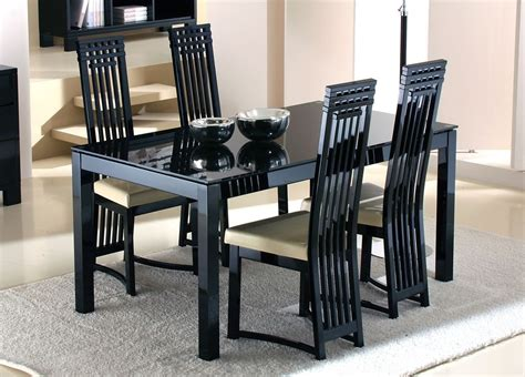 Black Glass Dining Table Set Minimalist Modern Black Glass Dining Table Set