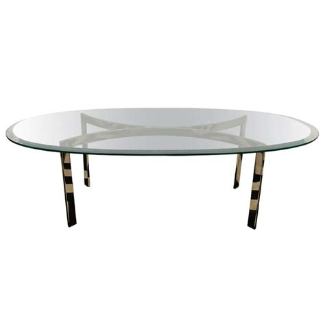 Oval Coffee Table Glass Mid Century Oval Chrome And Glass Coffee Table