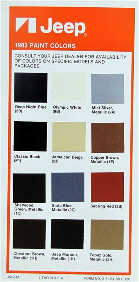 1983 jeep paint color palette ebay