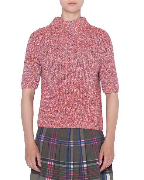 Chunky Knit Mock Neck Sweater akris punto mock neck chunky knit sleeve pullover
