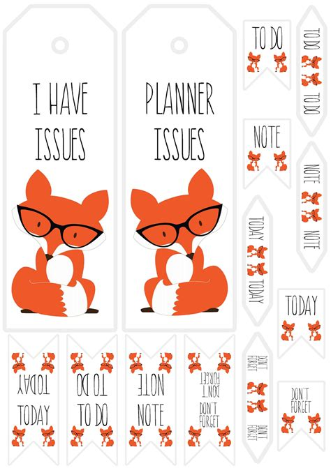 printable bookmark planner free printable fox planner bookmarks and tabs store