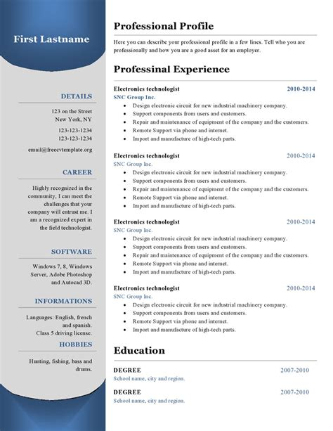 Resume Format Application Free resume templates 380 to 385 free cv template dot org