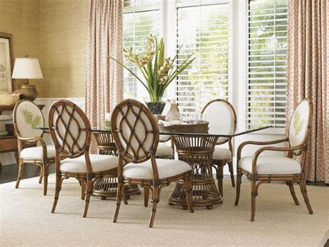 exotic dining room sets tommy bahama home bali hai tropical double pedestal 7