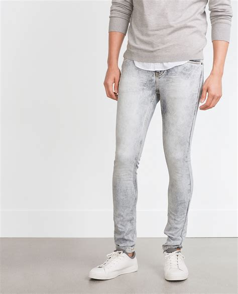light gray jeans mens zara soft grey jeans in gray for men lyst