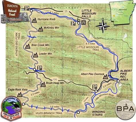 ouachita national forest map eagle rock loop trail arkansas ouachita national forest