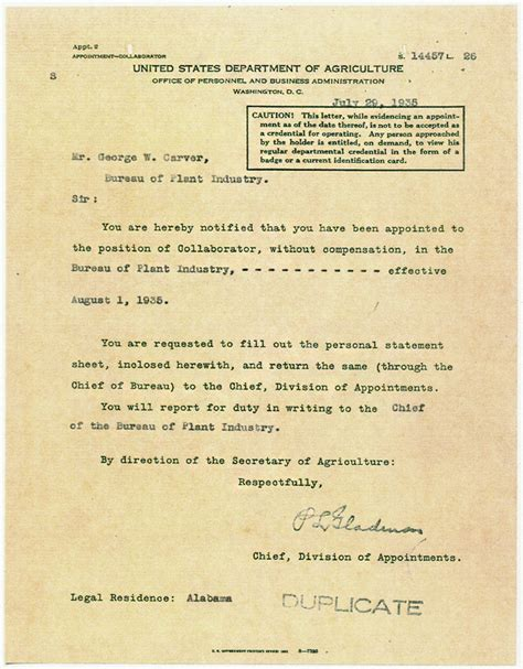 Usda Gift Letter Document George Washington Carver
