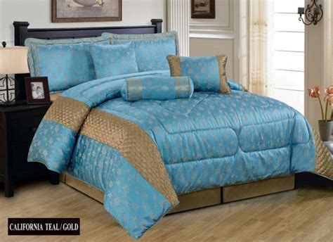 gold and teal bedding luxurious 7pcs quilted bed spread set comforter set