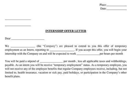 Offer Letters For Interns intern offer letter