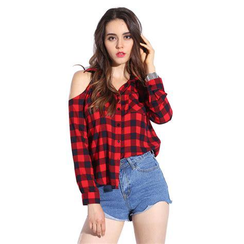 Plaid Blouse dioufond chiffon blouse shoulder blouse sleeve plaid shirt turn