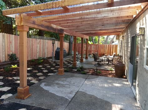 A Water Efficient Back Yard With A Redwood Pergola That Pergola Clear Roof