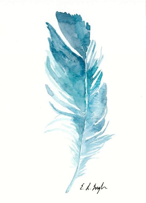 water color feather original watercolor feather painting 5x7 blue teal