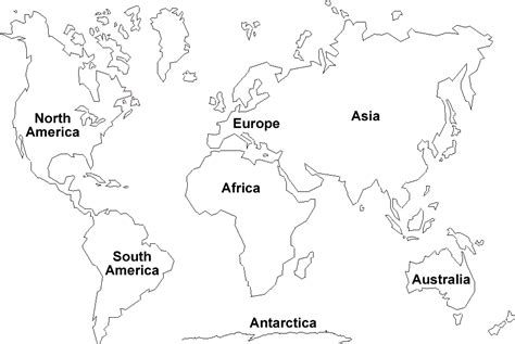 Printable maps of the 7 continents